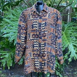 Vintage Abstract Print Silk Button Up Shirt